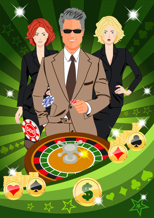 lucky man: Confident lucky man surrounded by beautiful women throws chips while spinning roulete. Design concept for gambling luck ans successful play. Use for print products, page and web decor or other design.