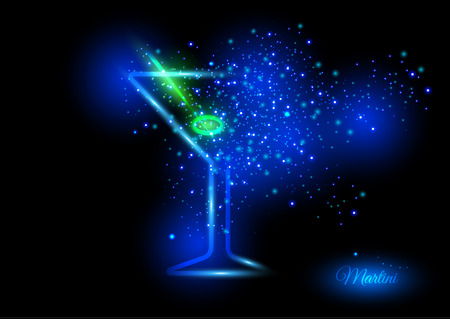 Martini with olive design concept - cocktail glass with lime bursting into shining lights of green and blue shades. Shining concept of fun and nice time on crazy party. Illustration