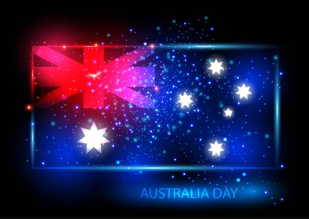 Australia day card with flag. Flag is presented as shining combinations of red, blue and white lights. Can be used for print products, page and web decor or other design. Vector illustration.