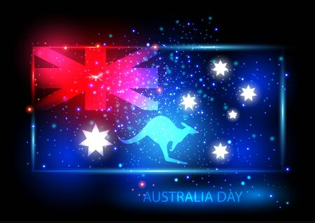 red kangaroo: Australia day card with flag and kangaroo. Flag is presented as shining combinations of red, blue and white lights. Can be used for print products, page and web decor or other design. Vector. Illustration