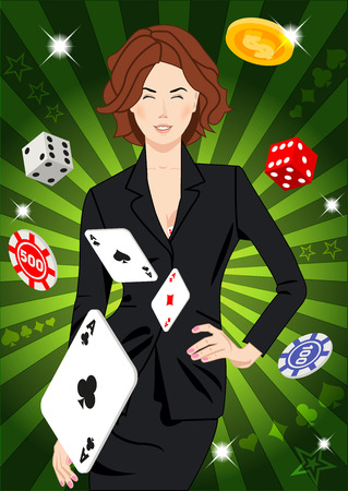 shiny suit: Confident beautiful lucky girl throws aces. Design concept for gambling luck ans successful play. Use for print products, page and web decor or other design. Illustration