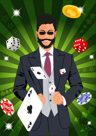 lucky man: Confident lucky man throws aces. Design concept for gambling luck ans successful play. Use for print products, page and web decor or other design. Illustration
