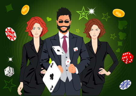 lucky man: Confident lucky man surrounded by beautiful women throws aces. Design concept for gambling luck ans successful play. Use for print products, page and web decor or other design.