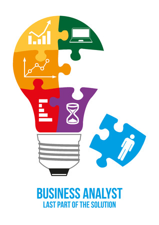 Business analyst design concept. Light bulb composed of interconnected puzzles with different types of business charts. Only last piece is missed that will complete picture - last part of solution.