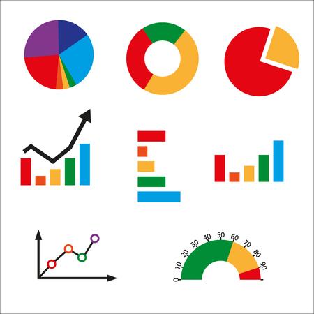 Diversi tipi di grafici di affari. Grafico a barre. Grafico a torta. Grafico a linee. Grafico panchina. Grafico ciambella. Grafico Combo. Metà calibro.