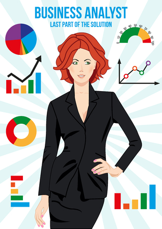 Beautiful business analyst woman surrounded with different charts. Bar chart. Pie chart. Line chart. Bench chart. Doughnut chart. Combo chart. Half gauge.