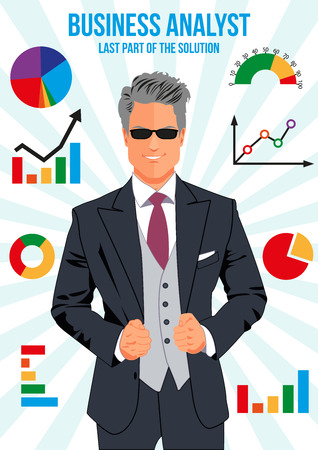 combo: Confident business analyst surrounded with different charts. Bar chart. Pie chart. Line chart. Bench chart. Doughnut chart. Combo chart. Half gauge.