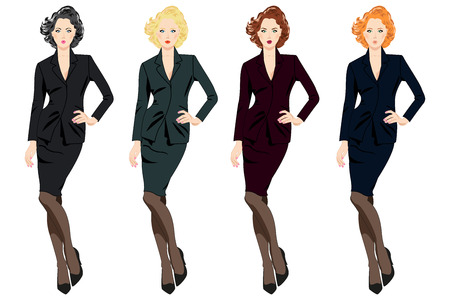 wonders: Set of beautiful business women in suits isolated on white background. Collection can be used by companies for logotypes, business identity, print products, page and web decor or other design.