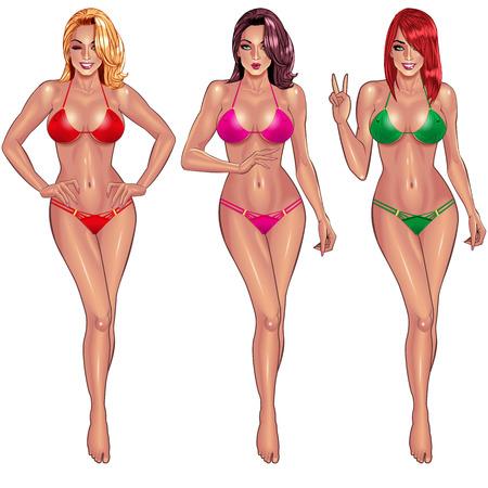 young girl bikini: Beautiful young women in bikini isolated on white background  Sexy girl. Beach girl. Summer girl. Bikini girl. Hot girl. Perfect body. Fitness girl.