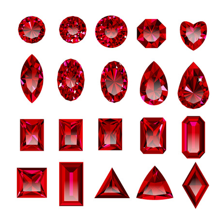 Set of realistic red jewels 向量圖像