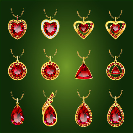 asscher: Set of realistic red jewels Illustration