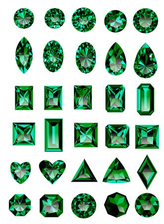 Ensemble de bijoux verts réalistes. pierres vertes colorées. émeraudes vertes isolé sur fond blanc. Princesse coupé bijou. Round bijou de coupe. Emerald coupé bijou. bijou ovale. Poire bijou. Coeur coupé bijou. Vecteurs