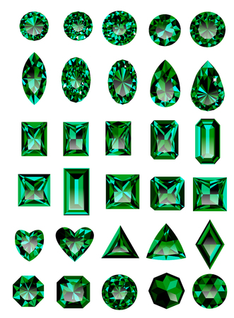Set of realistic green jewels. Colorful green gemstones. Green emeralds isolated on white background. Princess cut jewel. Round cut jewel. Emerald cut jewel. Oval jewel. Pear jewel . Heart cut jewel.