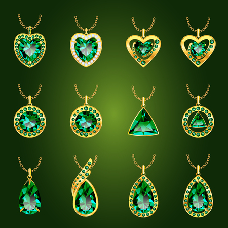 Set van realistische groene juwelen. Kleurrijke groene edelstenen. Emerald groen hangers geïsoleerd op een groene achtergrond. Prinses gesneden juweel. Ronde geslepen juweel. Smaragd. Oval juweel. Pear juweel. Hart juweel.