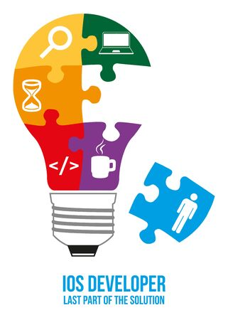 interconnected: developer design concept. Light bulb composed of interconnected puzzles with different components of programming. Only last piece is missed - that will complete picture - last part of solution.