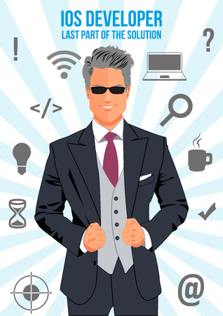 confident man: developer design concept. Nice looking confident man surrounded with icons with different components of programming. Symbolizes idea that man is last part of the solution that will connect other. Illustration