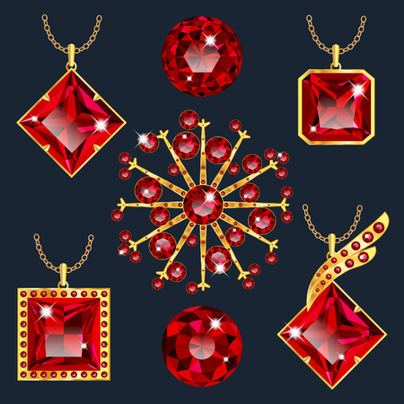asscher cut: Set of realistic red jewels Illustration