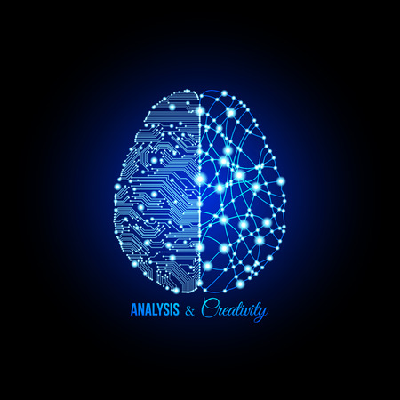Cold analysis and bursting creativity paired together in brain and thinking concept. Human brain. Analytical brain. Creative brain. Human thinking. Analytical thinking, Creative thingking.
