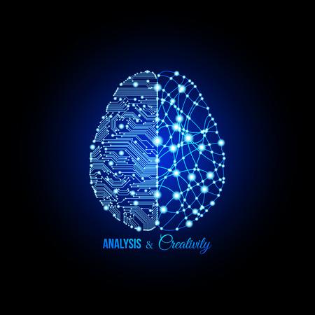 análisis frío y con una explosión de creatividad emparejados en el cerebro y el pensamiento conceptual. Cerebro humano. cerebro analítico. cerebro creativo. El pensamiento humano. El pensamiento analítico, creativo thingking. Ilustración de vector