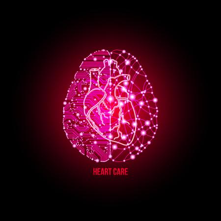análisis frío y con una explosión de creatividad emparejados en cardiología clínica y el concepto de cuidado del corazón. Ilustración de vector