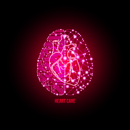 brain illustration: Cold analysis and bursting creativity paired together in cardiology clinic and heart care concept.