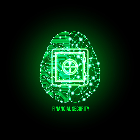 think safety: Cold analysis and bursting creativity paired together in financial security concept. Illustration