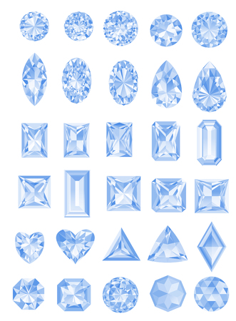 asscher cut: Set of realistic jewels isolated on white background with different cuts.