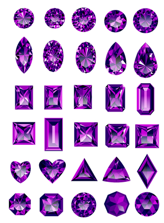 asscher cut: Set of realistic purple amethyst jewels isolated on white background with different cuts.
