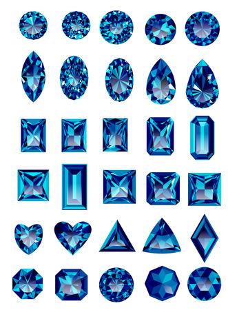 Reeks realistische blauwe violetkleurige juwelen op een witte achtergrond met verschillende bezuinigingen. Prinses gesneden juweel. Ronde geslepen juweel. Emerald cut juweel. Ovaal geslepen juweel. Pear gesneden juweel. Hart gesneden juweel.