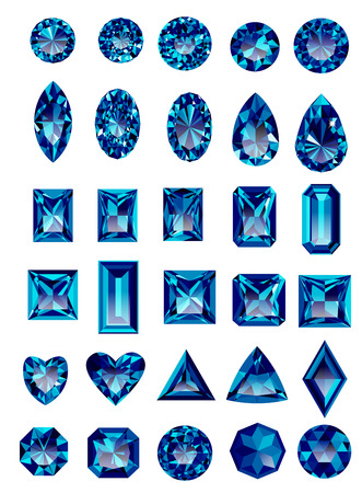 marquise: Set of realistic blue amethyst jewels isolated on white background with different cuts. Princess cut jewel. Round cut jewel. Emerald cut jewel. Oval cut jewel. Pear cut jewel . Heart cut jewel.