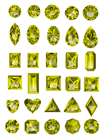asscher cut: Set of realistic yellow topaz jewels isolated on white background with different cuts.