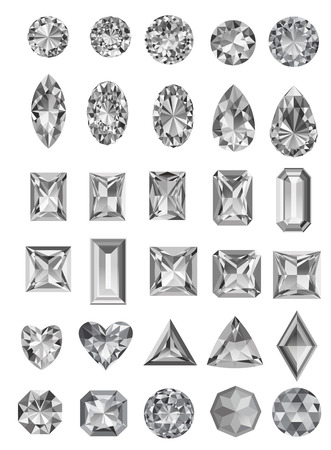 Set of realistic jewels isolated on white background with different cuts.