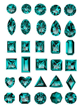 asscher cut: Set of realistic blue amethyst jewels isolated on white background with different cuts.