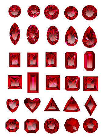 asscher cut: Set of red rubies isolated on white background. Illustration