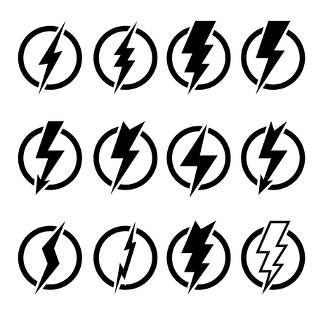 inscribed: Set of black lightning bolts and signs of different shapes inscribed in black circles and isolated on white background. Illustration