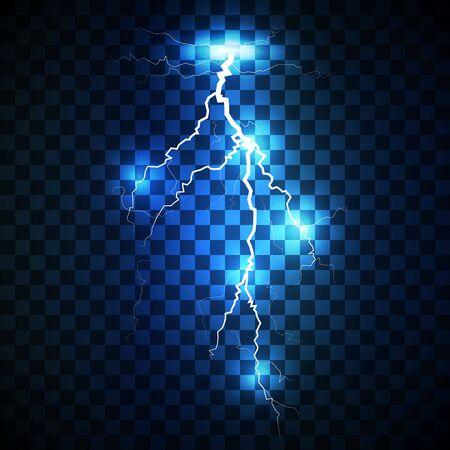 lightning strike: Realistic white lightning strike surrounded with shining blue lights on blue background. Illustration