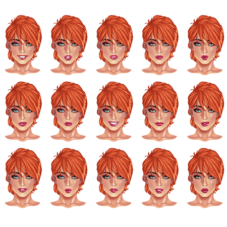 red haired: Set of beautiful red haired woman portraits with different lips and face expressions from smiling to serious.