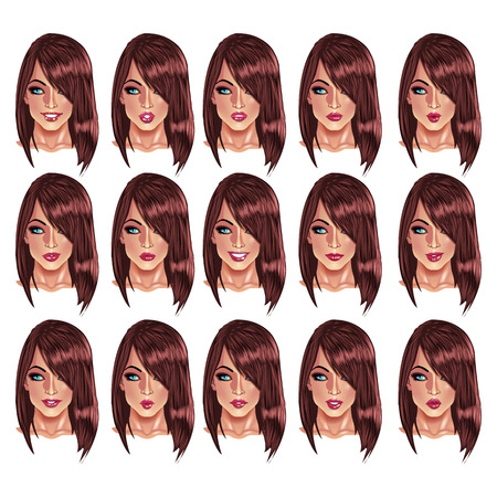 brown haired: Set of beautiful brown haired woman portraits with different lips and face expressions from smiling to serious. Illustration