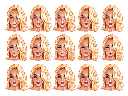 blonde haired: Set of beautiful blonde haired woman portraits with different lips and face expressions from smiling to serious.