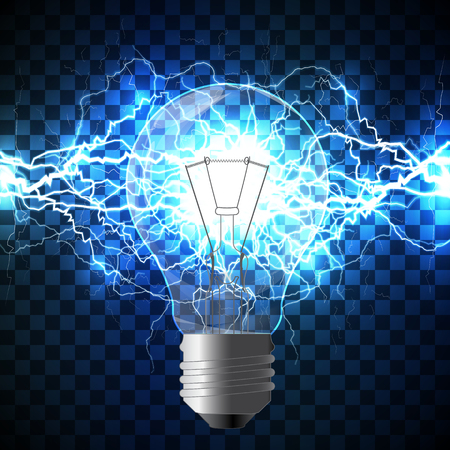 intertwined: Realistic light bulb filled with white lightning bolt created from intertwined white lightnings and surrounded with shining blue lights on blue background. Concept of idea born and power of mind.