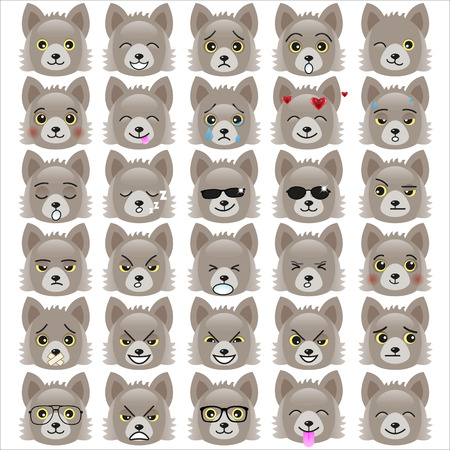 pups: Set of funny pup emoticons - smiling grey pups with different emotions from happiness to angry isolated on white background.
