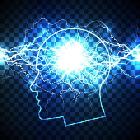 Moc koncepcji ludzkiego umysłu - głowa wypełniona burzą myśli - realistyczna biała błyskawica stworzona ze splecionych białych błyskawic i otoczona lśniącymi niebieskimi światłami.