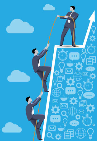 cliff edge: Business concept of teamwork and business team reaching success together. Three businessmen climbing together on dangerous success peak, working together and helping each other.