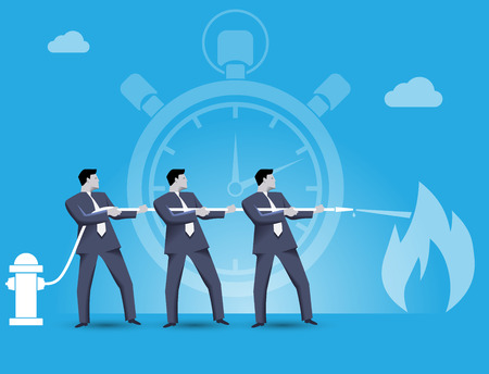 Business concept of teamwork and business team fighting crisis together. Three businessmen trying to extinguish the fire of crisis working together under time pressure. Illustration