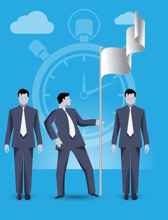 Business concept de travail d'équipe et d'affaires équipe prétendant sol ensemble. Trois hommes d'affaires conquérir des parts sur le marché et mettre le drapeau, de travailler ensemble et d'aider les uns les autres. Vecteurs