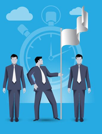 Business concept of teamwork and business team claiming ground together. Three businessmen conquer share on market and set the flag, working together and helping each other.