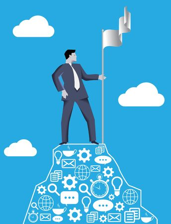 market share: Business concept of reaching success peak and claiming ground. Businessman setting flag of his team on the top of the mountain, claiming the ground and conquering his market share.