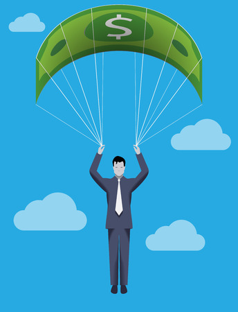 rope way: Business concept of golden parachute. Chief executive falling down with dollar bill parachute symbolizing financial success and good profit even in crisis times.