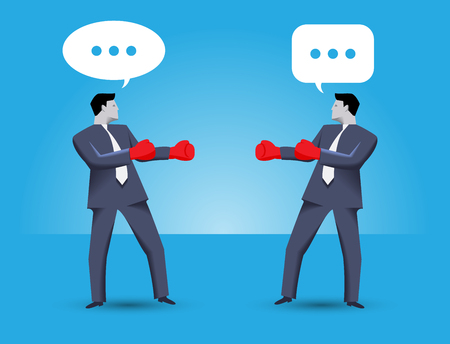 Tough negotiation business concept. Two businessmen standing against each other, wearing boxer gloves and ready to fight, but still trying to solve their problems via negotiation. Illustration