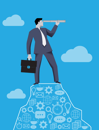cliff edge: Searching new opportunities business concept. Successful businessman with case and looking glass on the top of the mountain, looking around and searching for new opportunities and targets Illustration